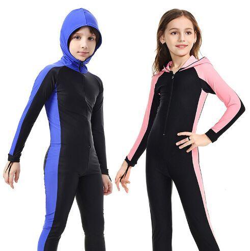 SBART Nylon Long Sleeves Kids Wetsuits Diving Suits for Boys/Girls Children Rash Guards One Pieces Surfing Swim Snorkel children
