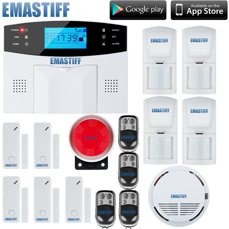 Free shipping Russian, Spainish, Italian, English, French,Czech Voice  Wireless Home security alarm GSM alarm system+fire Senor breast cancer and the growth factors