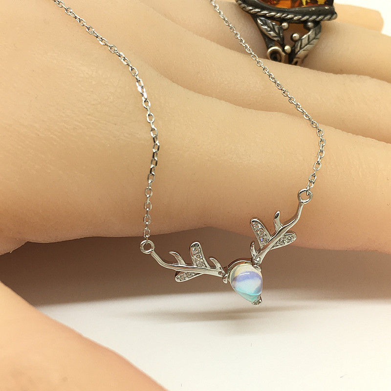925 sterling silver necklace Necklace women Silver Elk Friendship necklaces Personalized necklac Lock