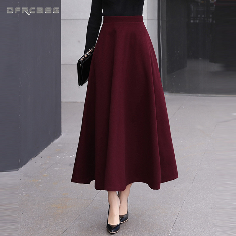 High Waist Woolen Skirts Womens Winter 2018 Fashion Streewear Wool Long Pleated Skirt With Belt Casual Ladies Saia Longa Black-in Skirts from Women's Clothing