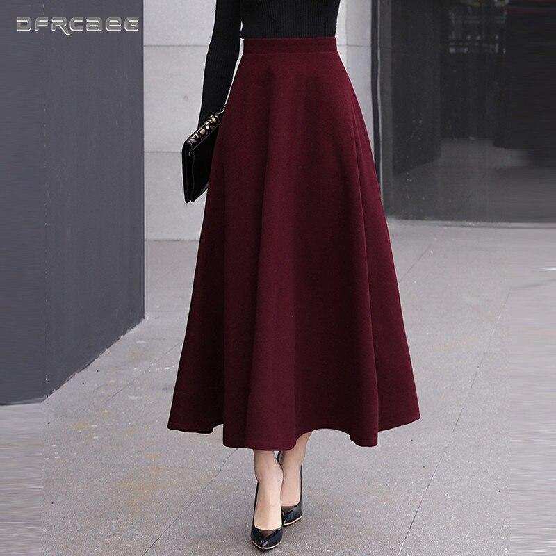 High Waist Woolen Skirts Womens Winter 2018 Fashion Streewear Wool Long Pleated Skirt With Belt Casual Ladies Saia Longa Black