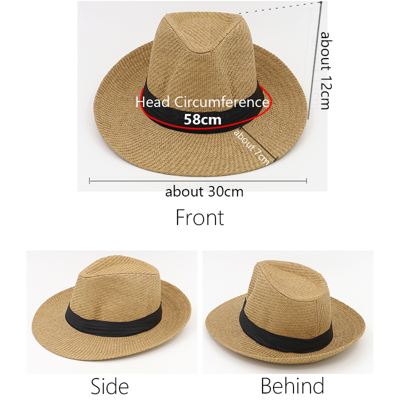 GZHilovingL Hot Sale Summer Hat Women Beach Straw Panama Hats For Men  Trendy Unisex Fedora Trilby Jazz Hats Travel Panama Hats-in Fedoras from  Apparel ... 17a08af66f3