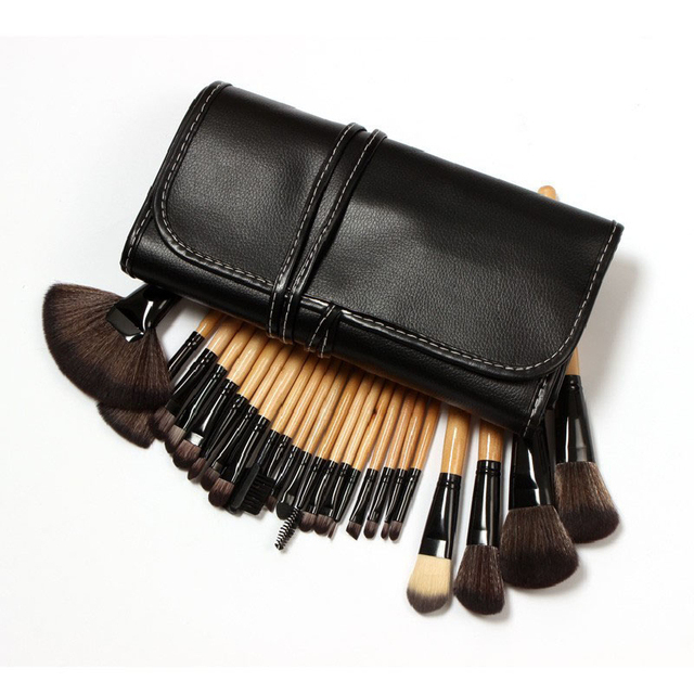 Mejor precio Nueva Mujeres Profesionales 24 UNID Madera Pinceles de Maquillaje cosméticos Make Up Kit Set con Bolsa Bolsa Negro Negro 1 Unidades