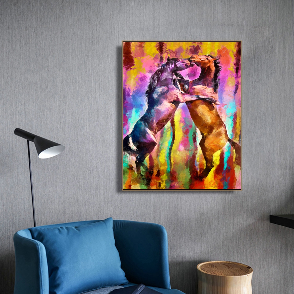 Fighting Horse Animals Print On Canvas Home Decor Wall Art Oil Painting Picture Postesrs for Living Room Bedroom Decoration