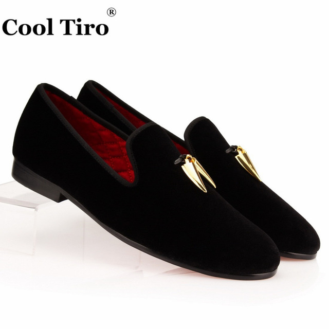 Men Black Velvet Slippers Loafers Flat With Gold Embroidered Tassel