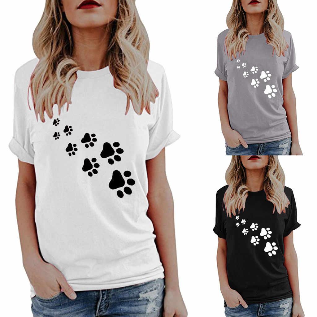 e8f51090 New Fashion Dog Paw Print T-shirts Womens Summer Cute Print Tops Short  Sleeve T