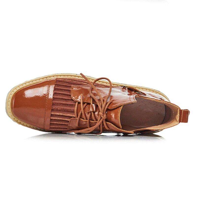 Spitze Flache Frau 2019 2 Echtem Plattform Farben Schuhe Ankunft Farbe Schwarzes Sarairis Wohnungen Bequeme Neue Leder Gemischten brown Bis dYSqdxv6w