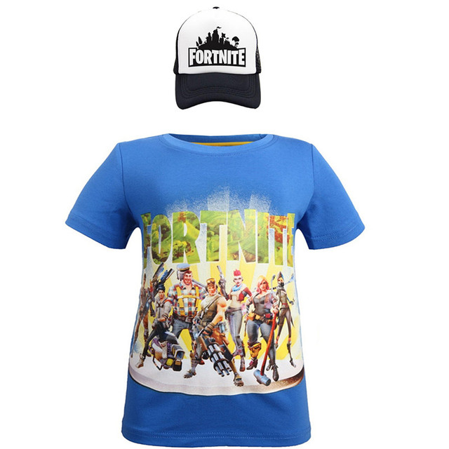 Battle Royale Boys Summer T-shirt cotton cartoon clothes Kids short Sleeve kids Girls Tops Tee  t shirts and Cap 2pcs costume 5