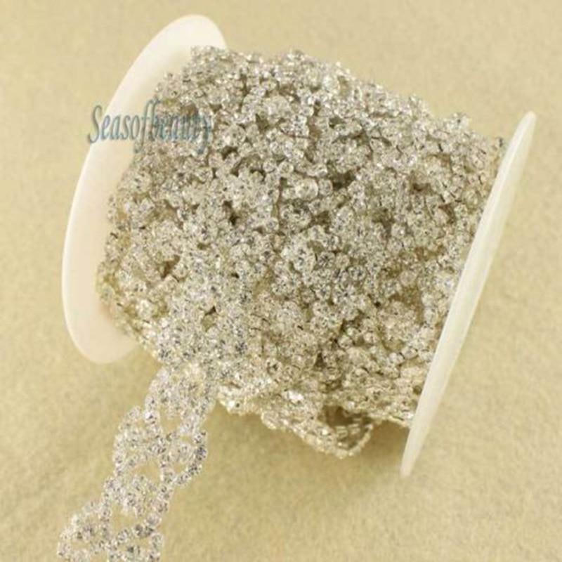 1 Yard Stylish Clear Flower Rhinestone Silver Costume Chain Applique Trim  R2167 c933bb3451d6