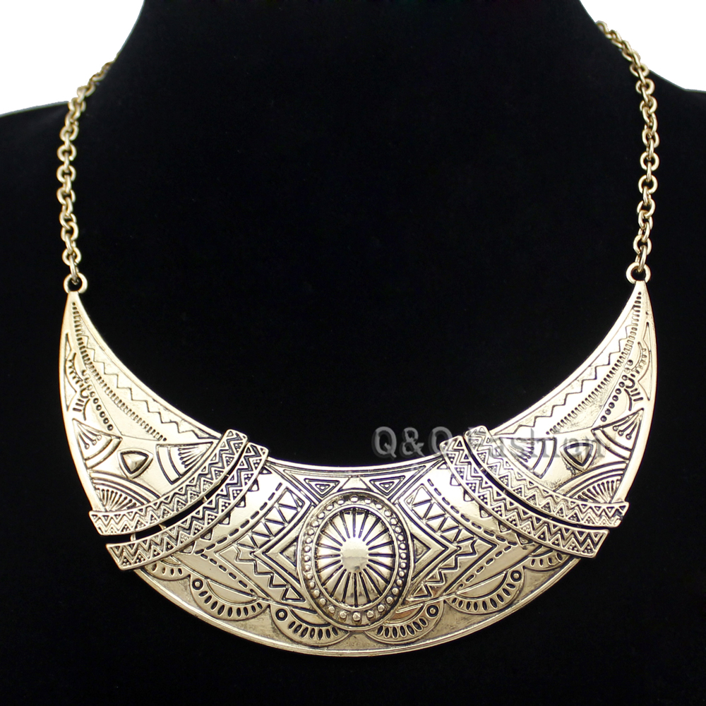 Aztec Gypsy Mayan Gold Mexican Moon Indian Carved Concho Choker Bib Necklace