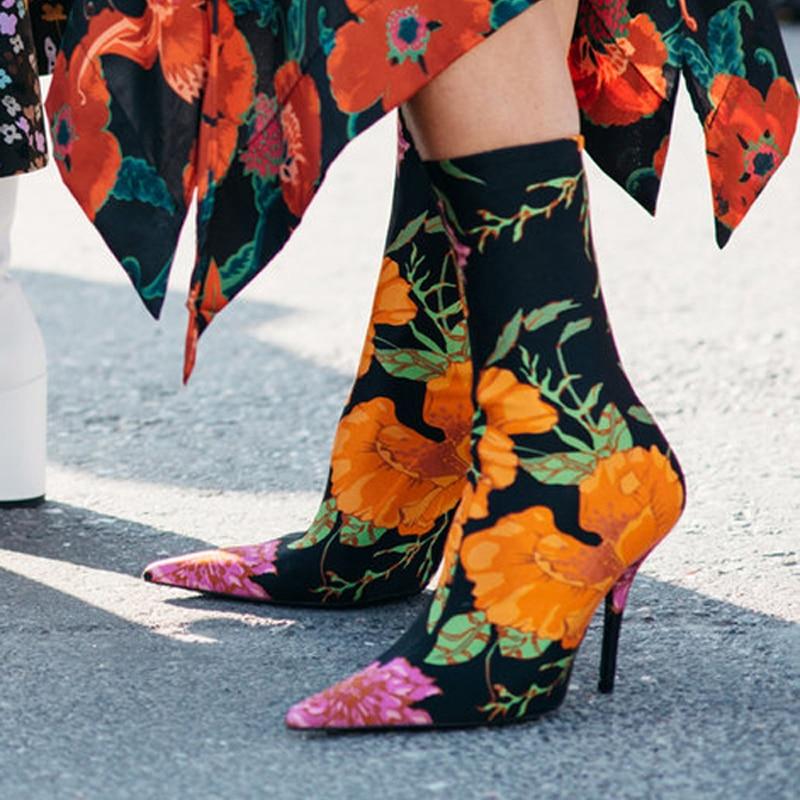 Red Swe0010 Pink Calcetines becerro Del flower Pie Tejido Dedo 3 Tamaño De Alto Mujeres Floral Las flower De 2 Marca 44 red green flower black Mujer Elástico rose Diseño Botas Tacón RxCwH