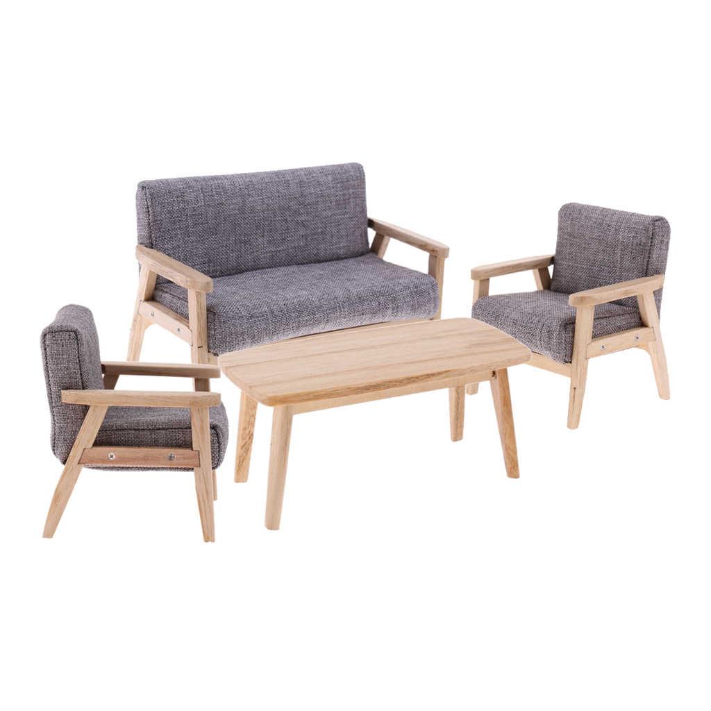 4PCS 1/12 인형 집 미니어처 가구 엔드 테이블 & 소파 의자 세트, 인형 집 생활 장면 장식, 어린이 가구 장난감