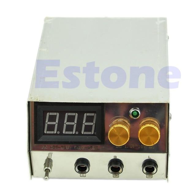 Stainless Steel Professional LCD Dual Digital Tattoo Machine Power Supply US plug