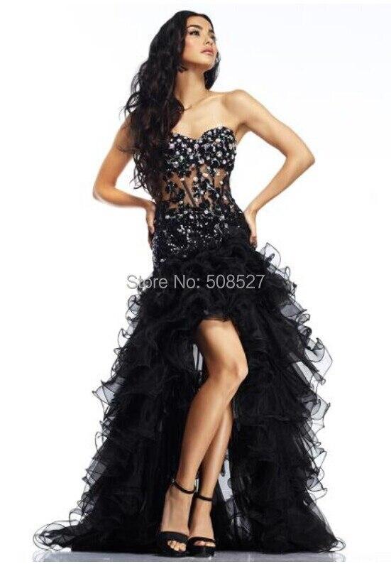 Black Rhinestones High Low Prom Dresses_Prom Dresses_dressesss