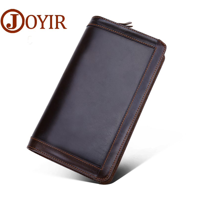 JOYIR 2017 Genuine Leather Men Wallets New Man Wallet Double Zipper Men Purse Fashion Male Long Wallet Man's Clutch Bag 9313 banlosen brand men wallets double zipper vintage genuine leather clutch wallets male purses large capacity men s wallet