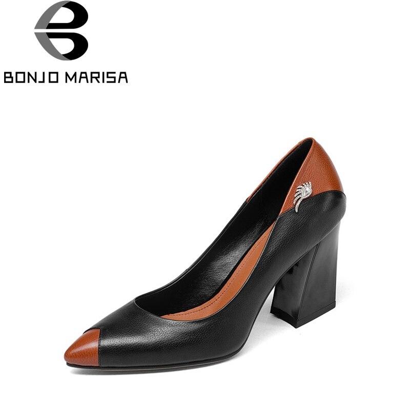 BONJOMARISA 2019 الربيع الخريف جديد جلد طبيعي مضخات أنيقة موجزة الديكور أحذية امرأة الضحلة الانزلاق على أحذية-في أحذية نسائية من أحذية على  مجموعة 1