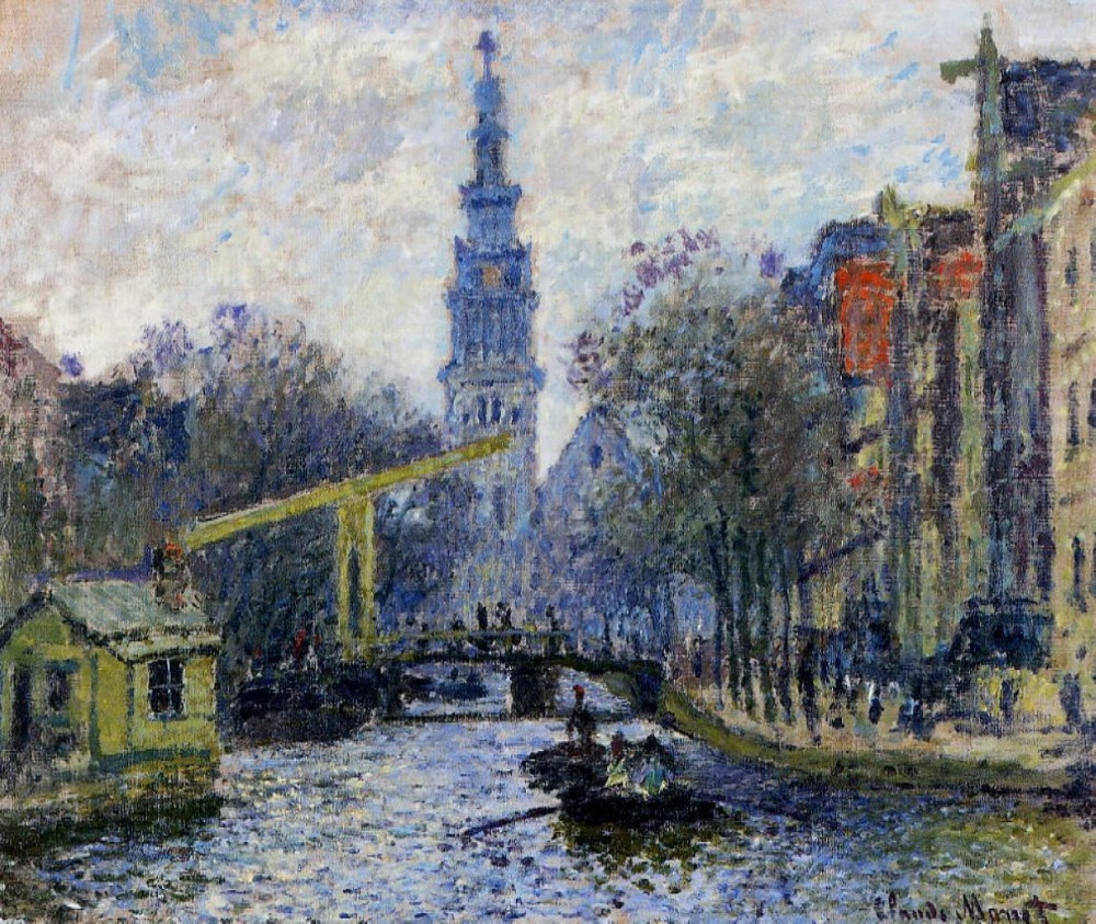 100% handmade landscape oil painting reproduction on linen canvas, canal-in-amsterdam By claude monet,oil painting,free shipping100% handmade landscape oil painting reproduction on linen canvas, canal-in-amsterdam By claude monet,oil painting,free shipping