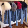 Korean Winter Jacket Women 2017 Ladies Faux Fox fur Lined Denim Jeans Down Jackets Faux Raccoon Fur Female Jacket Overcoat A888