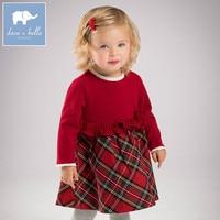 DB6078 Dave Bella Autumn Baby Princess Girl Wedding Birthday Dress Children Plaid Clothes Infant Designs GIRL