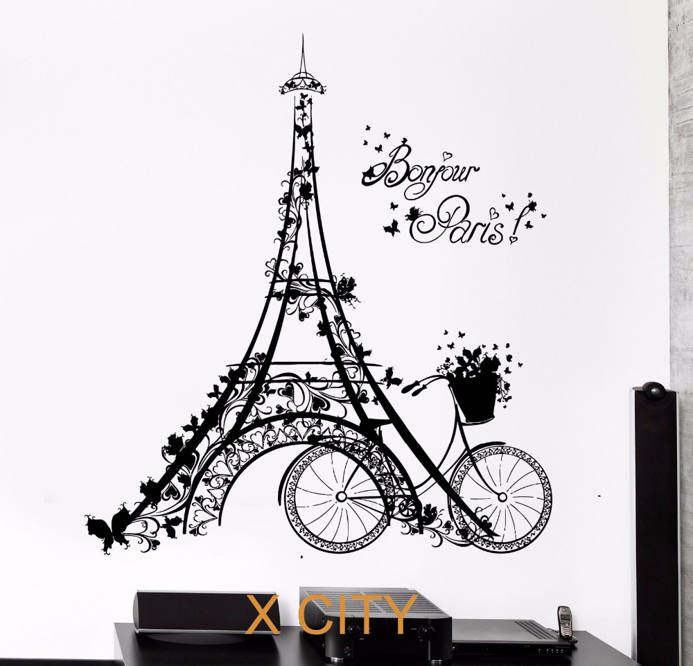 Bonjour paris scenery eiffel tower bicycle art wall decal sticker bonjour paris scenery eiffel tower bicycle art wall decal sticker black vinyl transfer stencil mural home room decor in wall stickers from home garden on amipublicfo Images