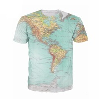 2017 World Map 3D funny t Shirt printed Hipsters retro globe image of the Americas t shirt Short Sleeve tees Women Men top R2813