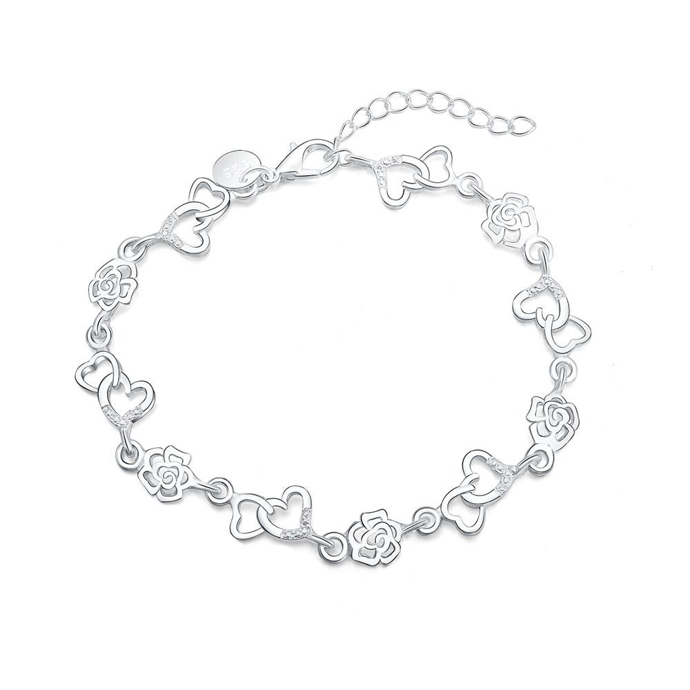 Beautiful hot women bracelet HEART lovely FLOWER chain fashion Wedding Party Silver cute lady nice bracelet jewelry LH009
