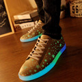 Frete grátis venda Quente emitindo luminosa brilhante sapatos casuais homens e Unissex sapatos levaram para adultos sem led flats Fluorescência