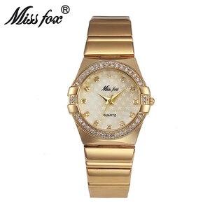 Image 3 - MISSFOX זהב שעון אופנה מותג ריינסטון Relogio Feminino Dourado שעון נשים Xfcs חורת סופרסטאר התפקיד המקורי שעונים