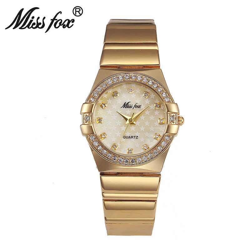 Reloj de oro MISSFOX marca de moda reloj de imitación femenino Dourado reloj de mujer Xfcs Grils Superstar original relojes de rol