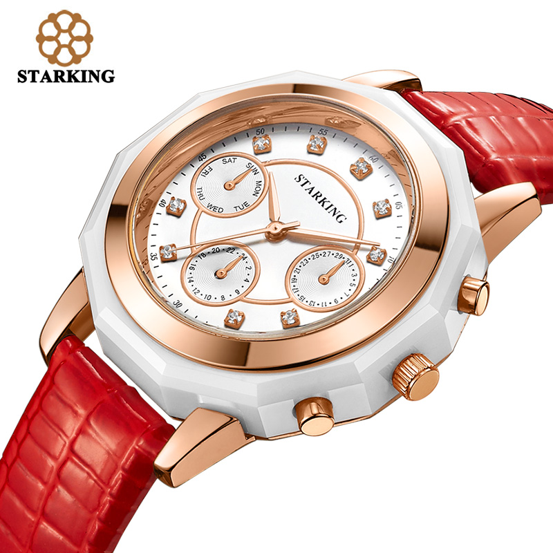 STARKING Brand Quartz Watches Red Leather Band Ladies Rose Gold Watches Women Dress Fashion 3ATM Waterproof Wristwatches Hodinky kezzi brand women dress watches 3atm waterproof leather strap fashion quartz watch student wristwatches ladies hours 2016 new