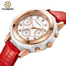 STARKING Marca Relojes de Cuarzo Banda de Cuero Rojo Señoras de Rose de Oro Relojes Mujeres se Visten de Moda 3ATM Impermeable Relojes Hodinky