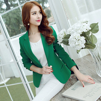 ae9ca63482238 Green yellow black single button ladies blazers womens fashion solid color slim  suit jackets blazer femme office tops coat femme