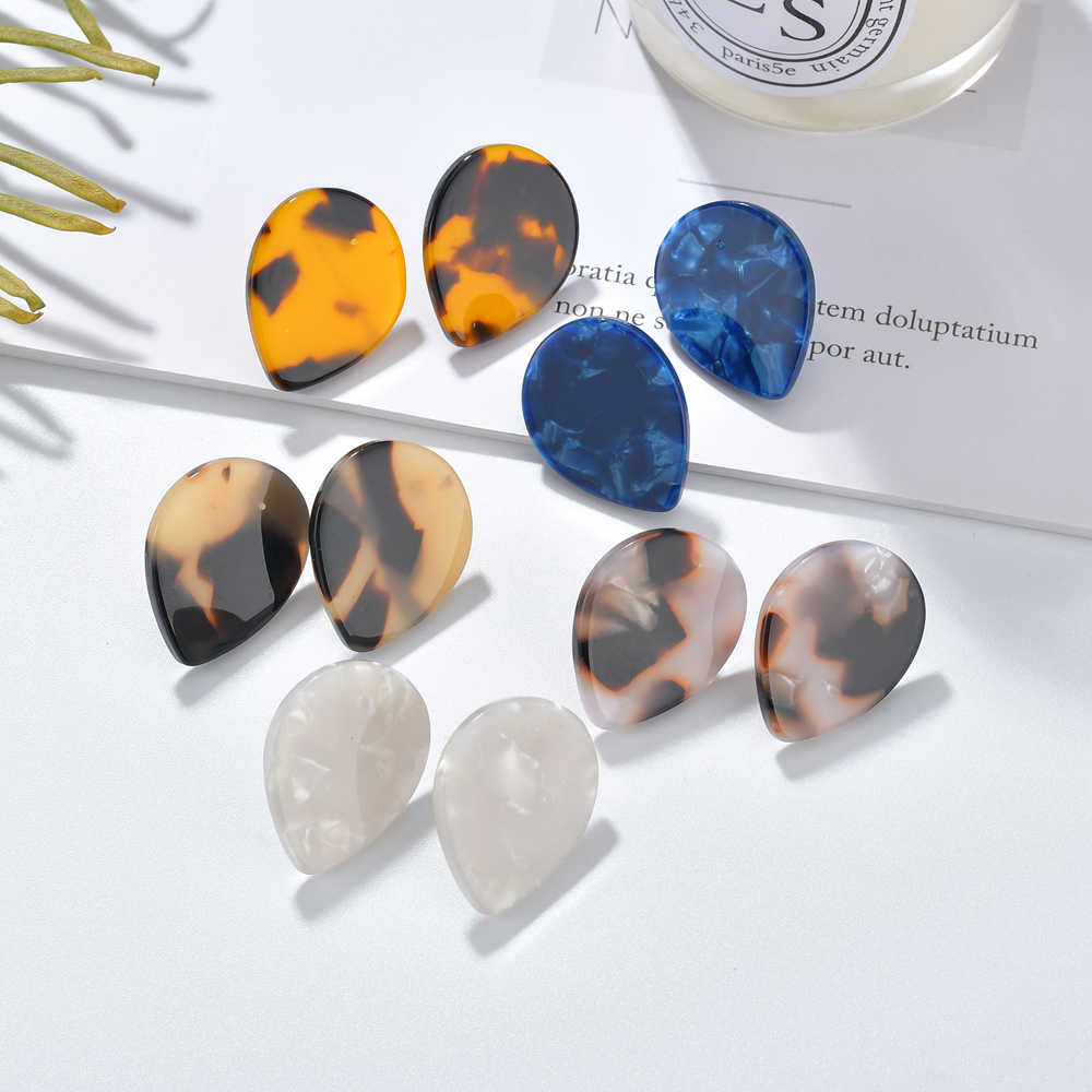 MESTILO 2019 Colorful Acrylic Waterdrop Small Stud Earrings For Women Girls Statement Resin Leopard Earrings Jewelry Accessories
