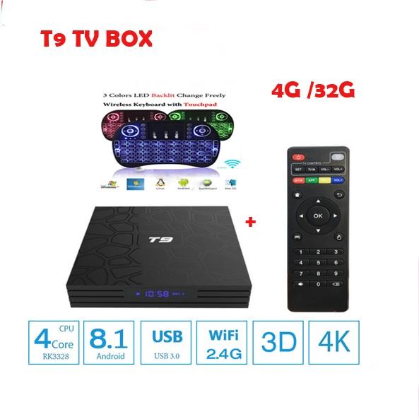 T9 4K TV Box Android 8.1 RK3328 Quad Core 4GB RAM 32GB ROM Set Top Box with USB 3.0 Smart TV Box Netflix Media Player PK MX10 original xiaomi mi box tv box 4k quad core 3 android 6 0 2g 8g smart hdr movie set top box multi language netflix youtube google
