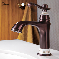 European Antique Basin Hot and Cold Tap Gold Single Hole Copper Baking Bathroom Counter Basin Faucet LY 02