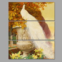 3pcs Set Maple Leaf Animal Birds Decoration White Peacock Wall Art Picture Dusk Canvas Painting For