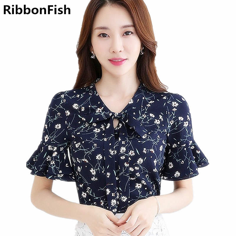 Summer Womens Clothing Fashion Casual Chiffon Shirt Printing Cool Cloth Blouses Butterfly Floral Female Top Women Blusas DD1380
