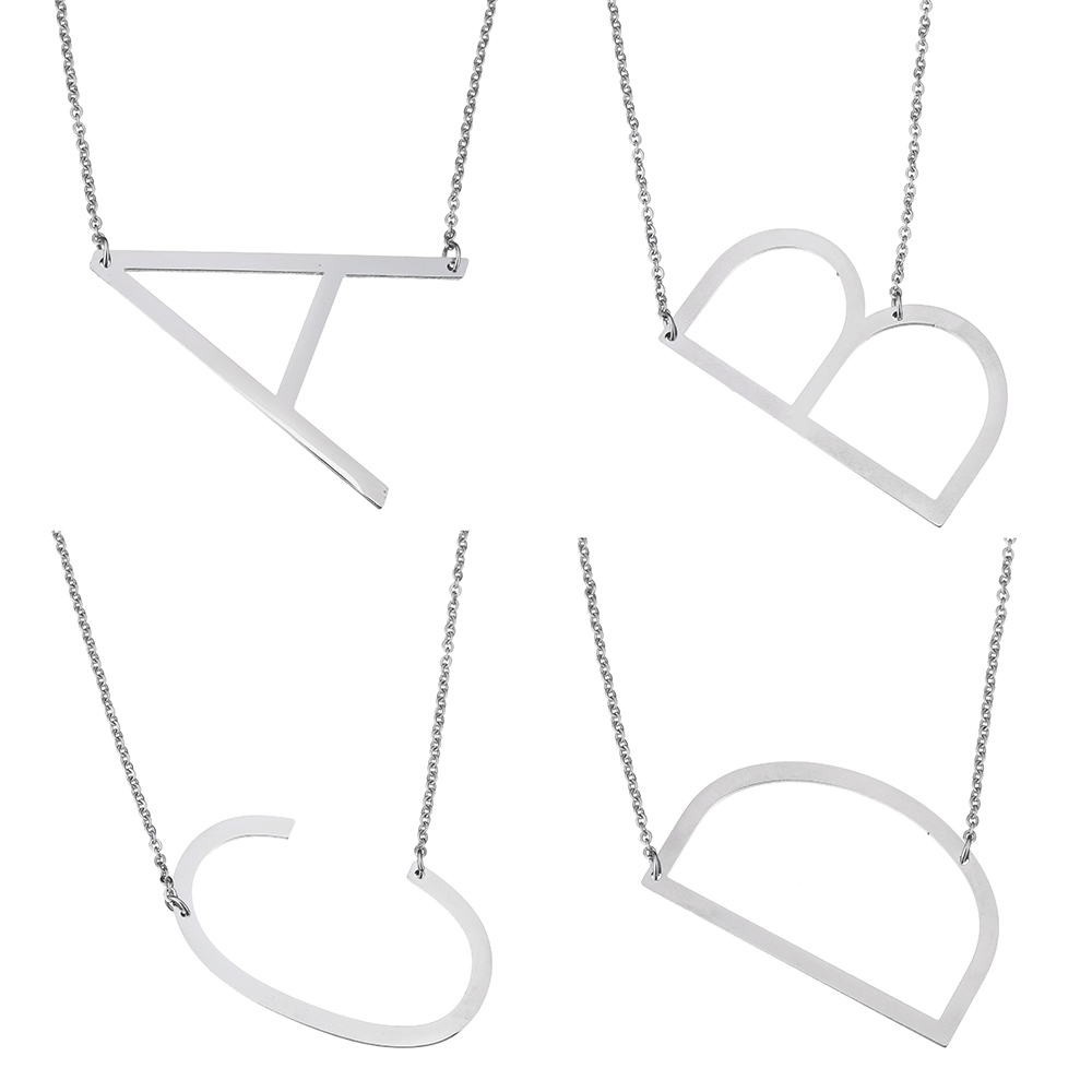 2017 Fashion Stainless Steel Letter Necklace Pendants Statement Necklace Body Long Chain Jewelry For Women Men Gift