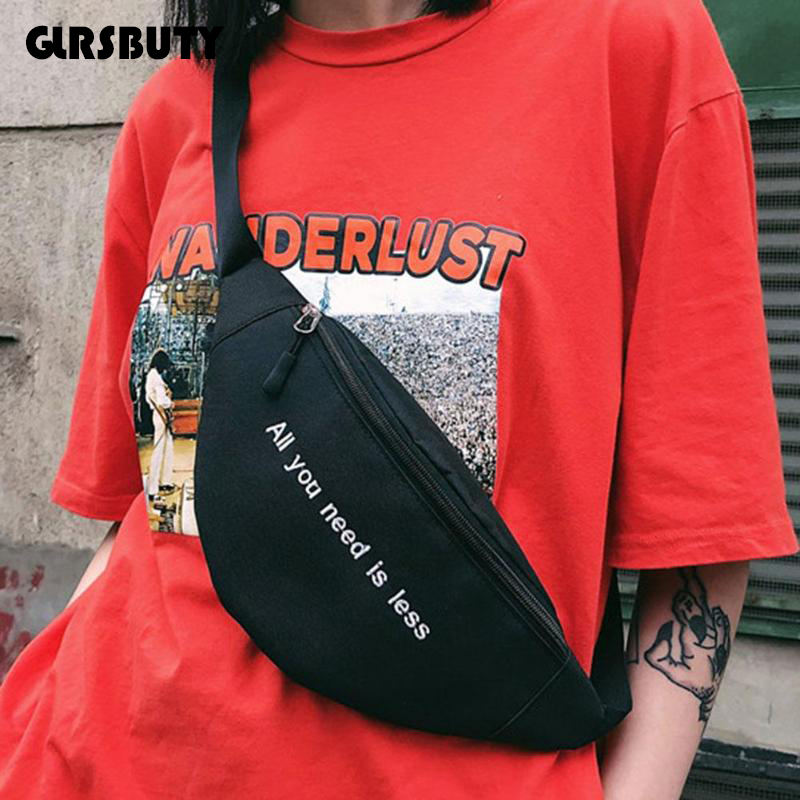 GLRSBUTY Belt-Bag Fanny-Pack Letter Harajuku-Style Travel Women Hip-Hop