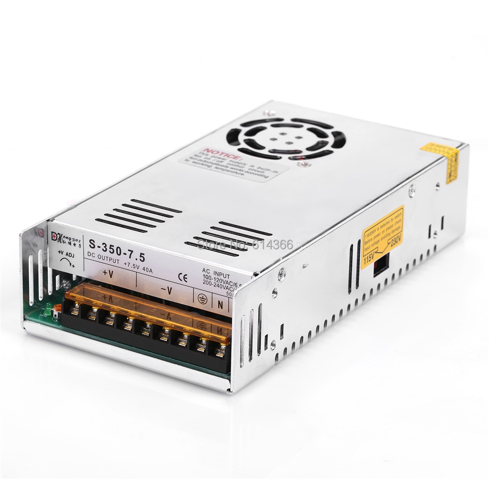 1PCS 350W 7.5V 40A Power Supply 7.5V40A Driver for CCTV camera LED Strip AC 100-240V Input to DC 7.5V ac dc 36v ups power supply 36v 350w switch power supply transformer led driver for led strip light cctv camera webcam