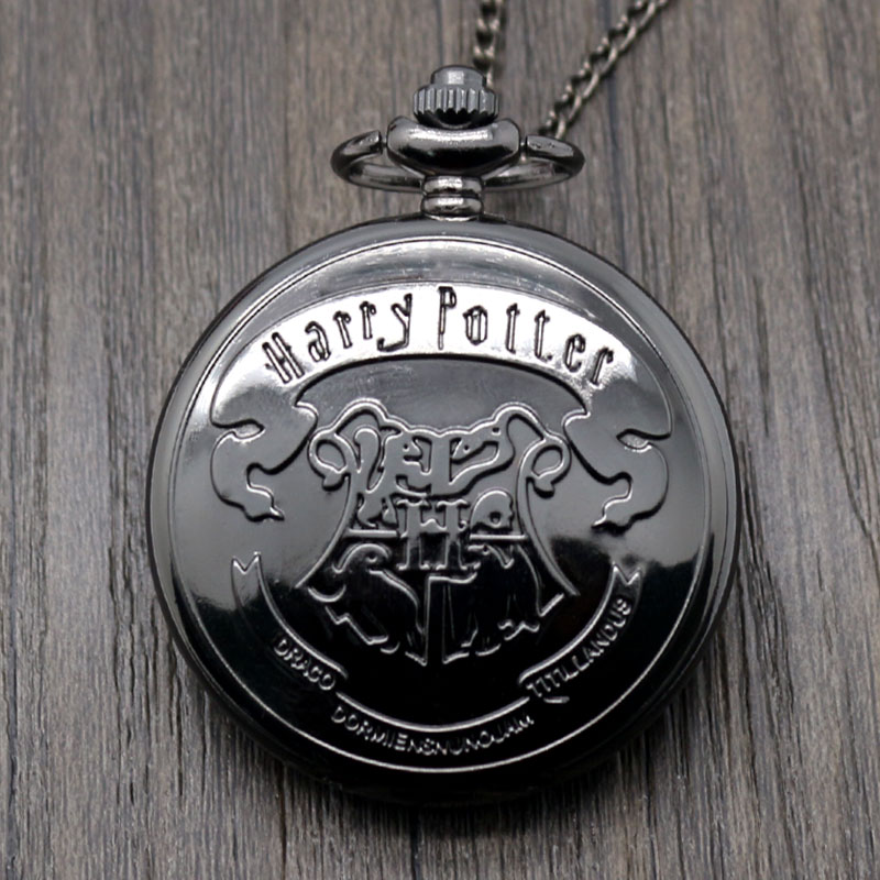 Hot Sale Movie Extension Black Hogwarts School Logo Case Quartz Pocket Watch With Necklace Chain hot sale cayler