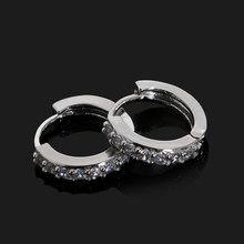 1Pair Classic Silver Color Crystal Round Hoop Earrings Women Ear Studs Jewelry Accessories Minimalist Earrings Bijoux 2018(China)
