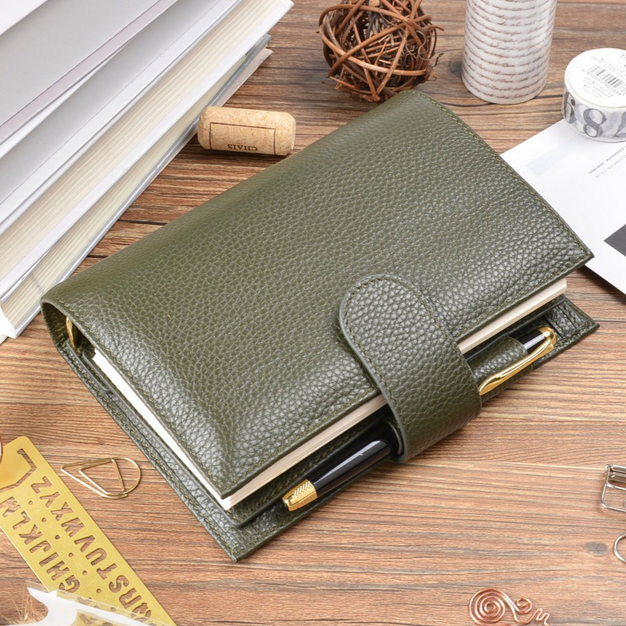 Olive Green Litchi Genuine Leather Rings Notebook 19.2x13.5cm Personal Diary Gold Binder Daily Planner Handmade Agenda Organizer