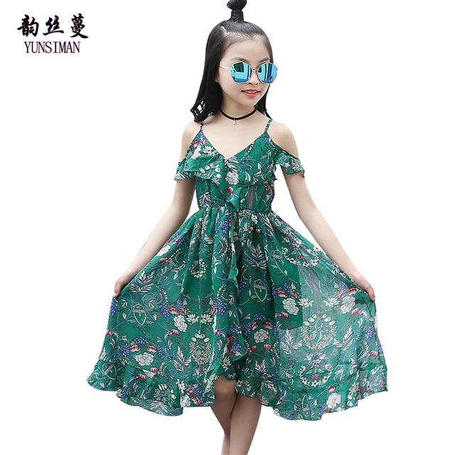 aadb209abbd1 Brand Bohemia Beach Dress for Girls 6 8 10 12 14 Years Kids Green Flower  Print Beach Princess Dress Girls Summer Clothing 12C08