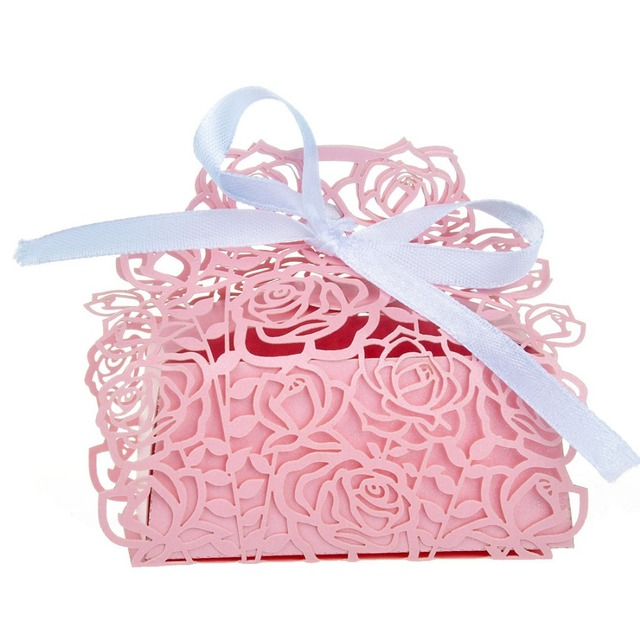 50pcs Rose Laser Cut Candy Boxes With Pink Ribbon Wedding Party