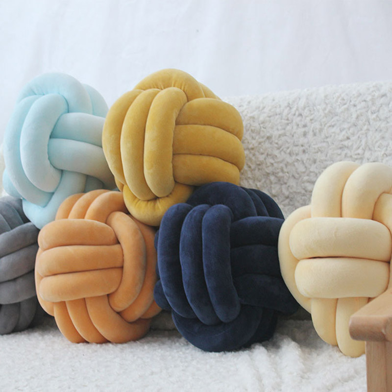 Pure Hand-woven Pillow Round Knotted Pillow Children's Room Must-have Multi-color Optional Support Wholesale