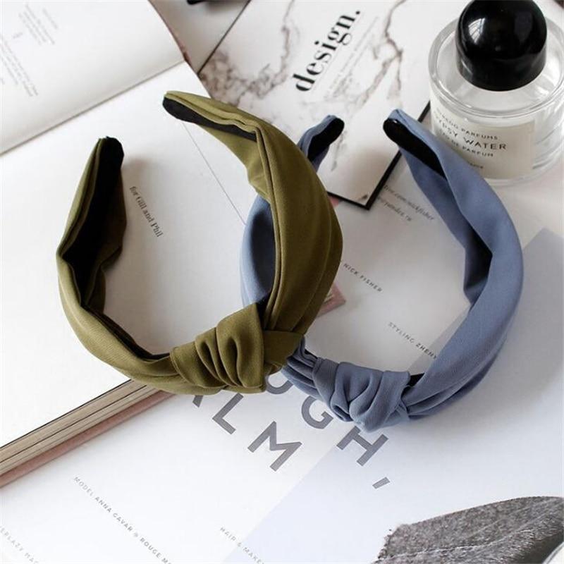1 pc femmes lunette mode Style coréen bandeau femme filles décontracté élégant tissu croix couleur uni cheveux accessoires chapeaux 3