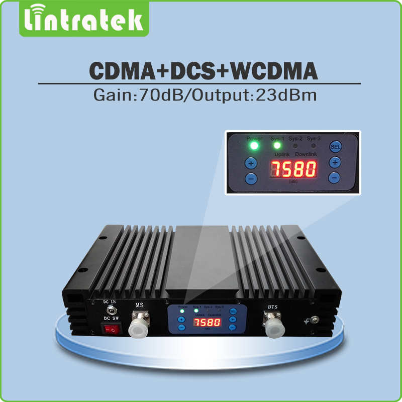 Triple Band Mobile Signal Booster 70dB Lcd Display CDMA 850mhz+ DCS 1800mhz+3G WCDMA 2100mhz Mobile Signal Repeater With AGC/MGC