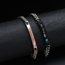 1PC Stainless Steel Lover Couples her Beast& His Beauty Bangles Her King His Queen Bracelets Men Women Jewelry Valentine's Day(China)