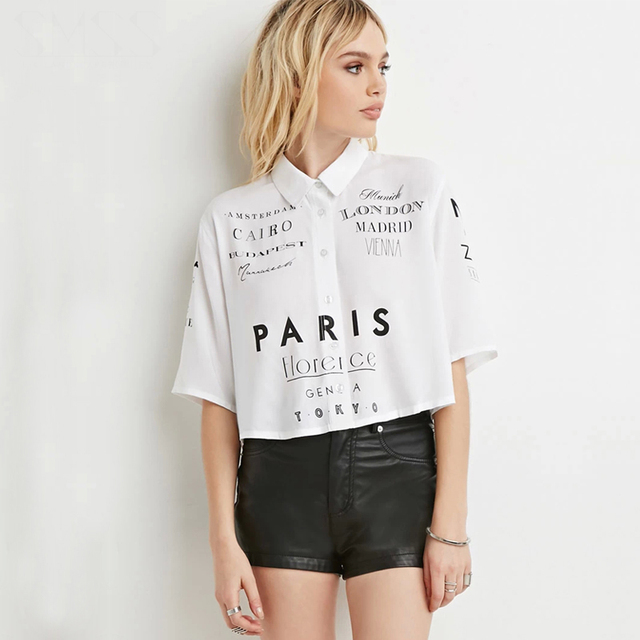 bded572e0b7cbe Short sleeve peter pan collar cropped tops women letter print button down  white shirts ladies girls